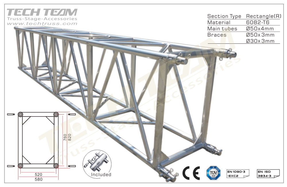 D76-RS25;Straight truss 820x580 Rectangle