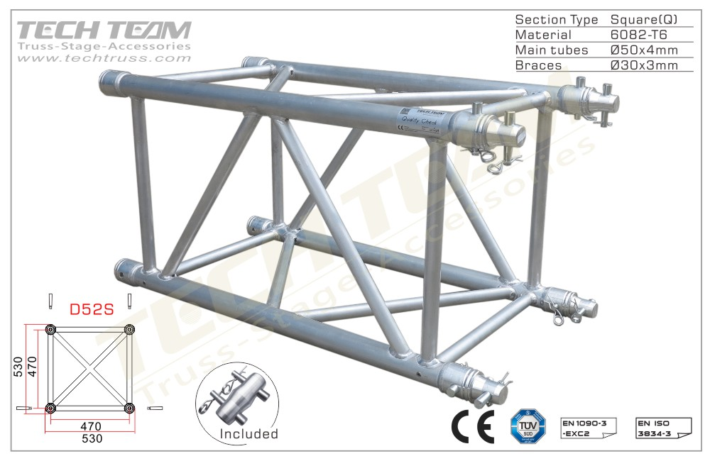 D52S-QS10;Straight truss;530x530 Square