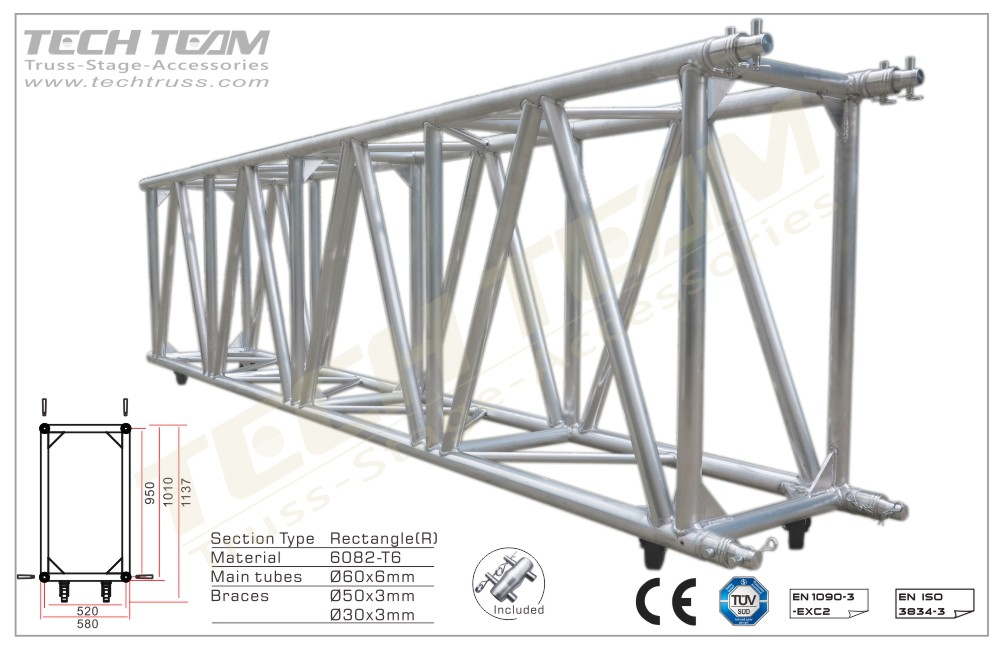 F100-RS30;Straight truss 1010x580 Rectangle