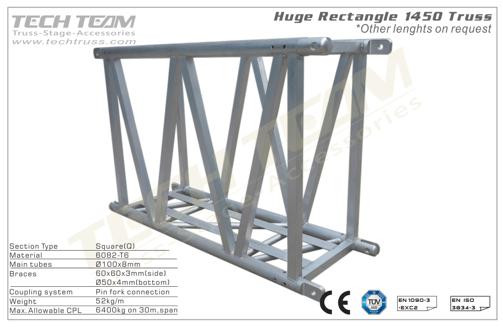 H145-RS10;Straight truss;1450 Huge Rectangle  Truss